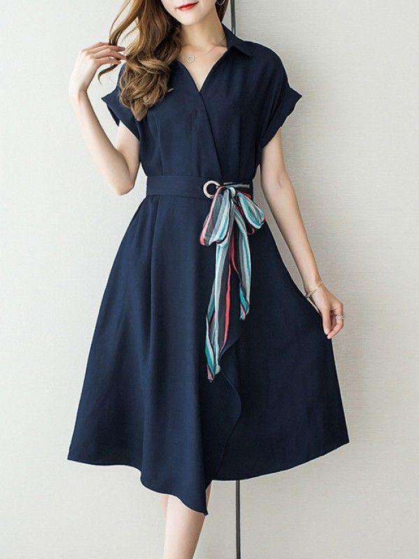 楽チンで女性らしくPOLOネック半袖ワンピースエレガントOL通勤ワンピース ウェスト絞り - レディースファッション激安通販 20代·30代·40代ファッション