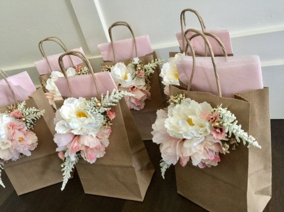 Garden party Gift Bags 6piece  tea pary Wedding by Rusticredoo