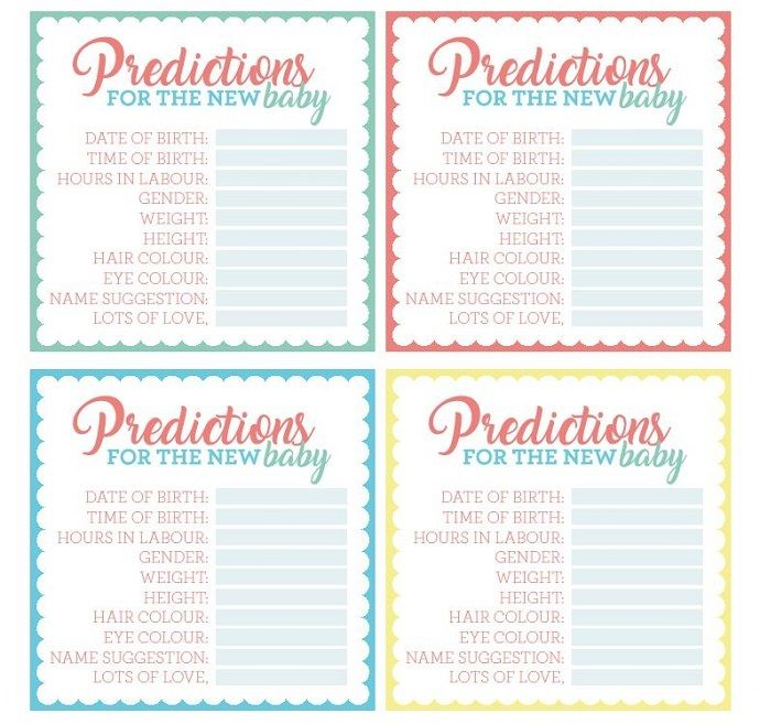 Free baby shower prediction cards - download yours at blog.partydelights.co.uk where you can browse even more baby shower ideas too!