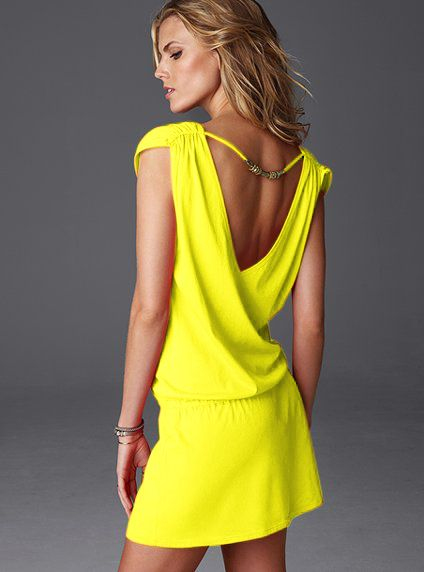 Yellow Backless Sundress.