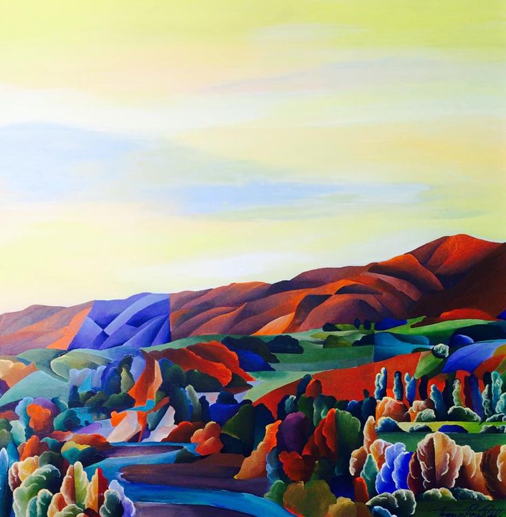 """""""Autumn Light"""" Pohangina River, Tammie Riddle, Acrylic on Board, 2015, 30 x 30cm, Paradise Series (Sold) www.tammieriddleartist.com."""