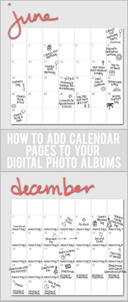 How to Add Calendar Pages to Digital Scrapbooks. Tutorials and Templates for Mixbook, Shutterfly and Photoshop. Amazing.