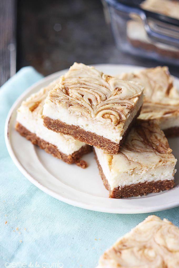 Cinnamon Roll Cheesecake Bars - Creme De La Crumb #cheesecake #bars #cinnamonrolls
