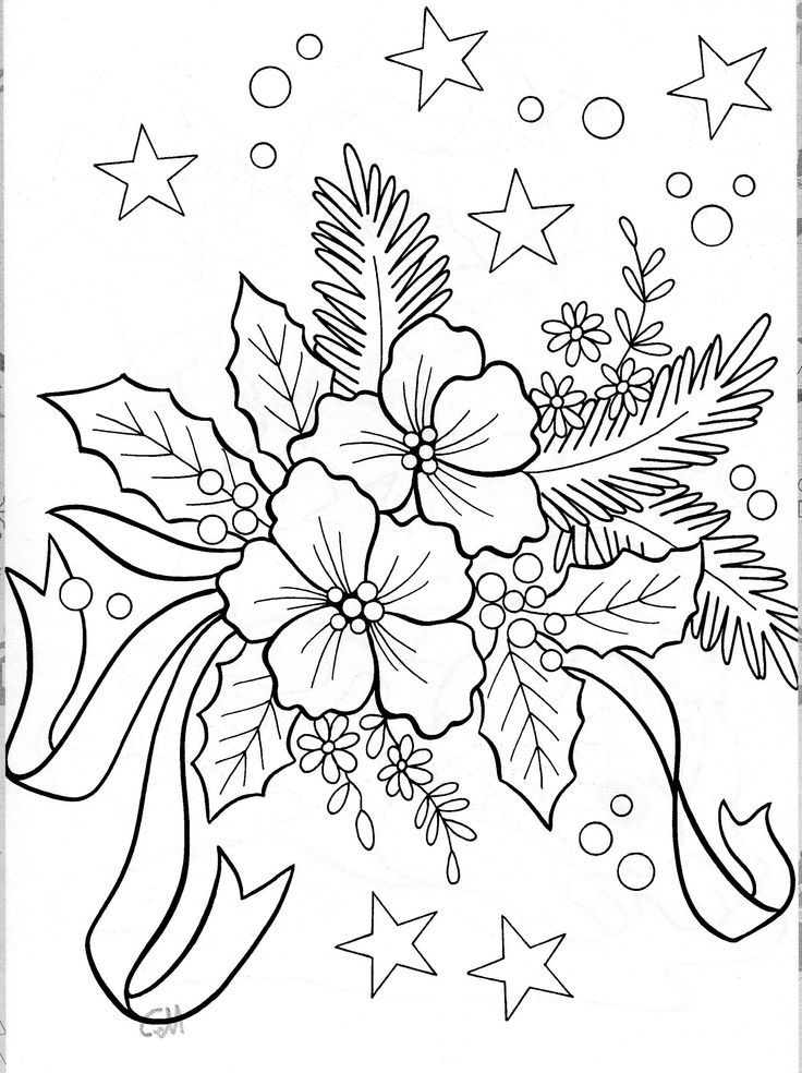 It is a graphic of Adorable christmas flowers coloring pages
