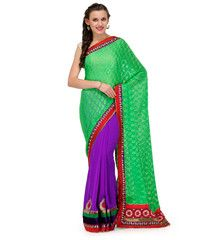 Parrot Green and Purple Brasso and Faux Georgette Half and Half Saree   Fabroop USA   $44.00  