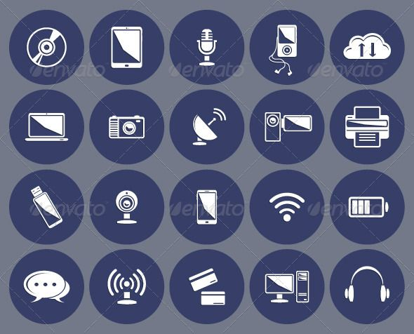 Technology icons set:computer, tablet, phone, laptop, clouds, microphone, wireless, headphones, player, camera, printer, internet