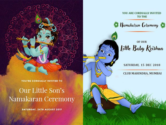 Super Cute Baby Naming Ceremony Invitation Card Templates And