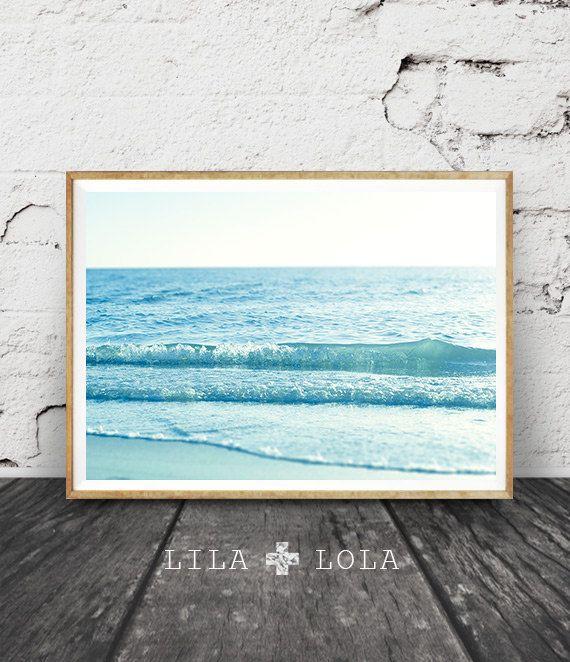 Oceaan Water golven fotografie, kunst aan de muur Beach, kust Print, moderne minimalistische grote Poster, afdrukbare digitale Download, blauw Pastel Decor