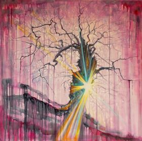 """""""Evil forges a tornado but goodness battles in a straight line.""""  ― Caris Roane  An evocative piece that is made up of many layers to give a veil like appearance. The bright light used for the focal point is in stark contrast to the subtle hues of the back ground."""
