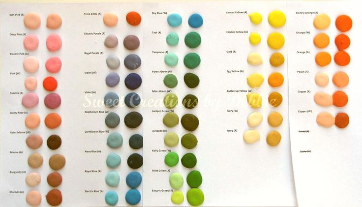 Sweet Creations by Debbie: My Color Chart  both columns are the same gel color. the one on the right adding more of it