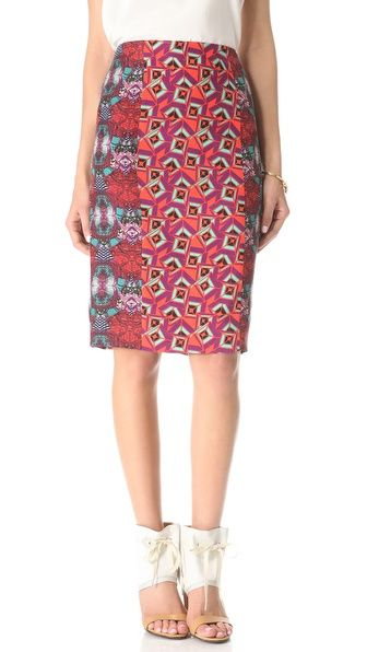 a print pencil skirt, that's right, stripes and prints!