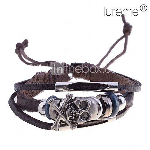 lureme crâne de charme cuir tressé bracelet des hommes - EUR €2.84