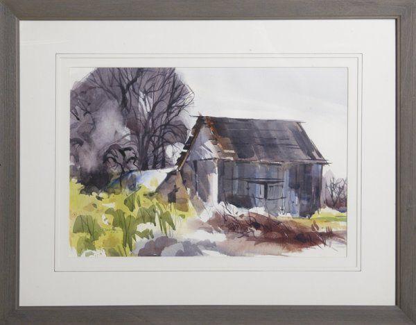 324: John Droska, Watercolor; Barn in Landscape