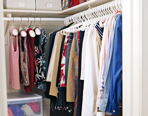 Gain extra space in small closets by using slim hangers and stackable bins with pull-out drawers. And consider double rods. You don't have to get out the power drill or call a handyman to add a second rod to a closet. Hanging rods that hook over existing rails are a smart, inexpensive, and instant way to create extra room for short hanging clothes.