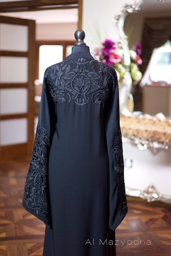 Al Mazyoona Black Embroidered Party Wedding Bisht Abaya Dubai