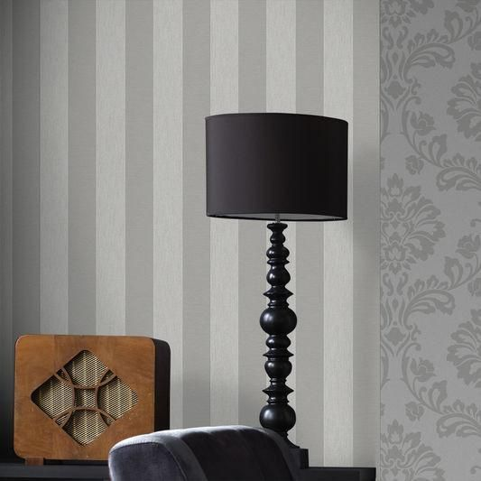 Ariadne Wallpaper in White and Silver from the Midas Collection by Graham & Brown