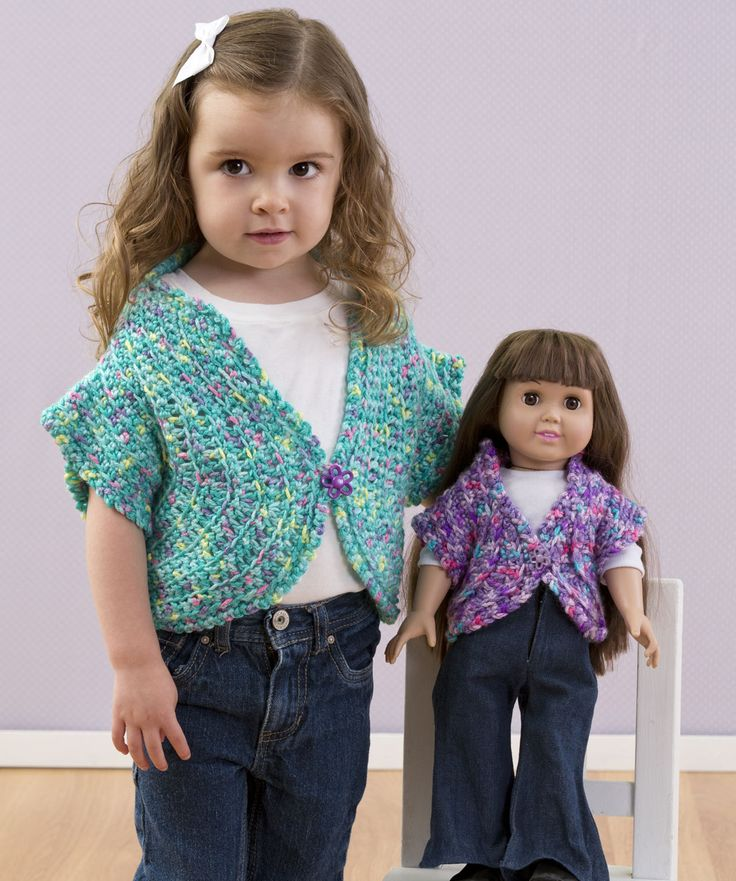 Just Like Me Doll Shrug Crochet Pattern #girl #doll #match Sassy Girl's Shrug Crochet Pattern - http://www.redheart.com/free-patterns/sassy-girl%E2%80%99s-shrug