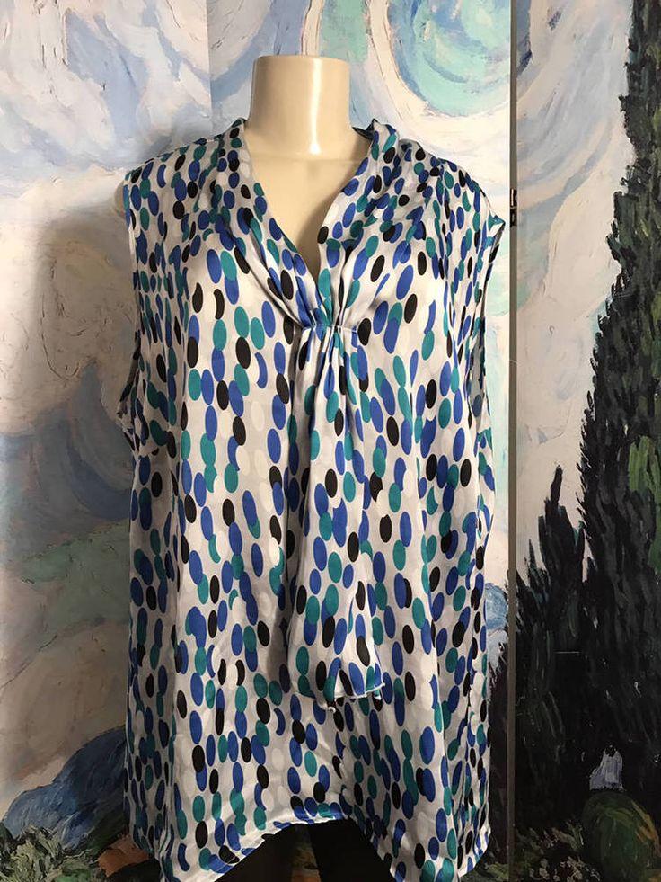 Dressbarn Plus 2X Blue Oval Dot Print Tie Scarf Neckline Sleeveless Tunic Top #Dressbarn #Tunic #Career