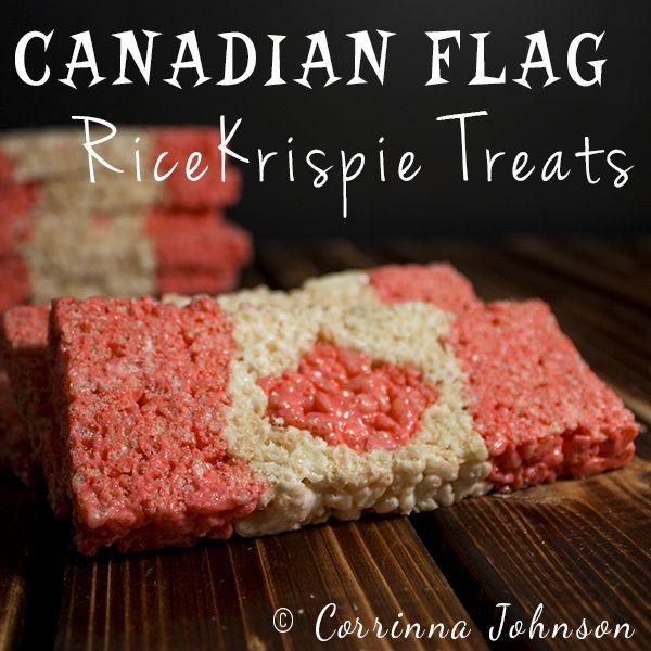 Canadian Flag Rice Krispie Treats #Canada Day