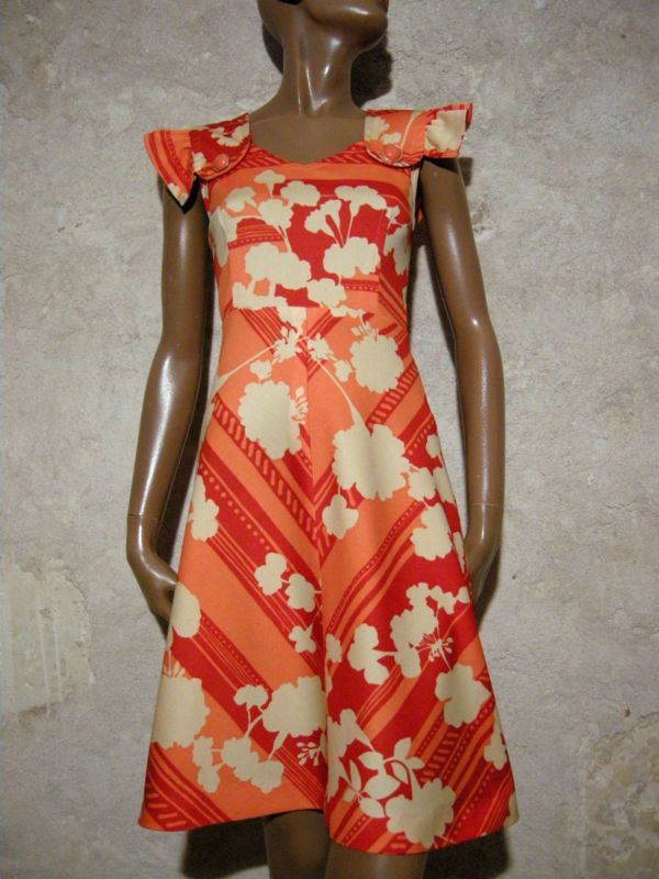 CHIC VINTAGE ROBE ANNEES 70 1970 VTG DRESS 70s KLEID 70er ABITO ANNI 70 (36)