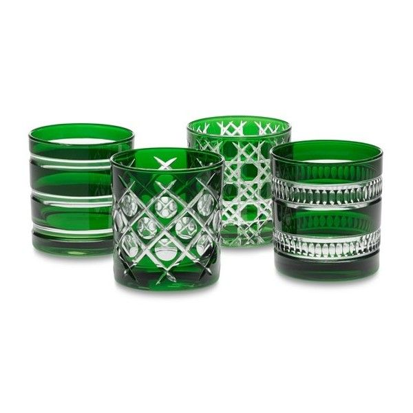 Mixed Cut Double Old-Fashioned Glasses, Set of 4 (€62) ❤ liked on Polyvore featuring home, kitchen & dining, drinkware, cocktail glassware and emerald green glassware