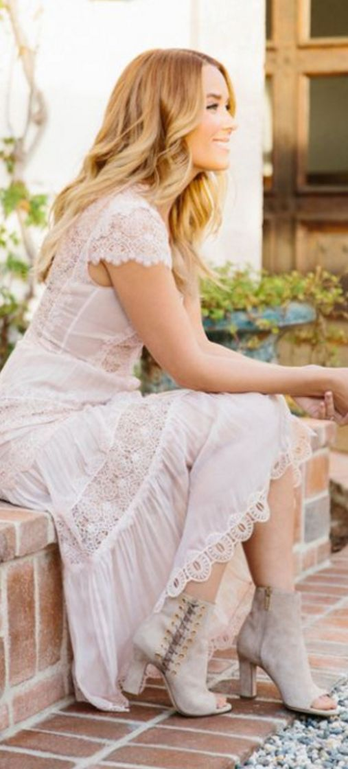 Who made Lauren Conrad's white lace short sleeve dress and suede ankle boots?