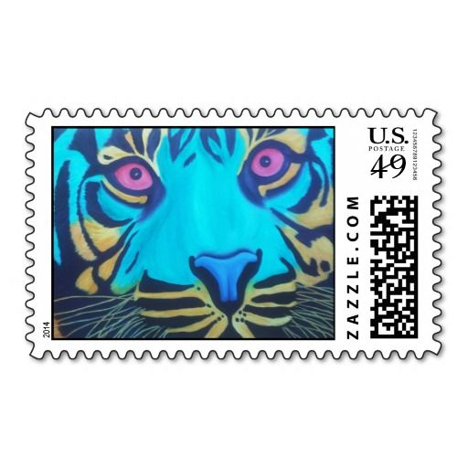 Pru the Tiger Postage Stamp-Oil on canvas of tiger in green purple and orange. Art by Kate Fox Art.