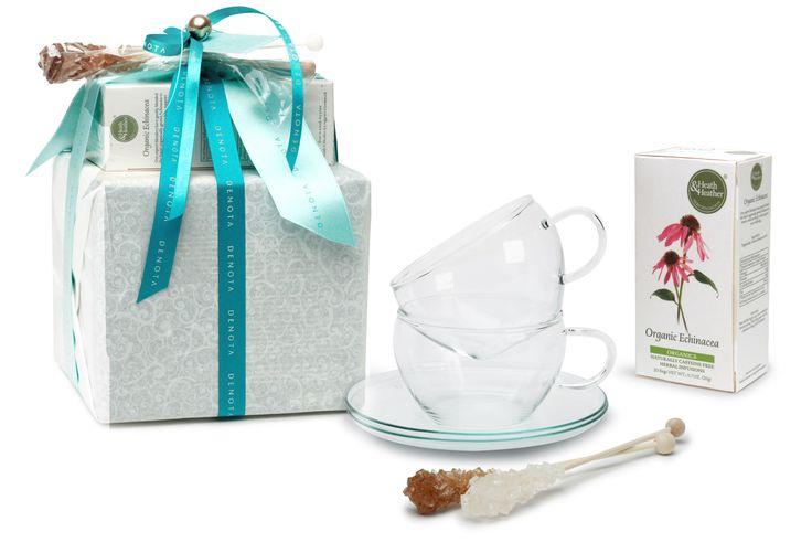 Confezioni regalo con tazze in vetro, bastoncini di zucchero cristallizzato e infuso di echinacea. | DENOTA
