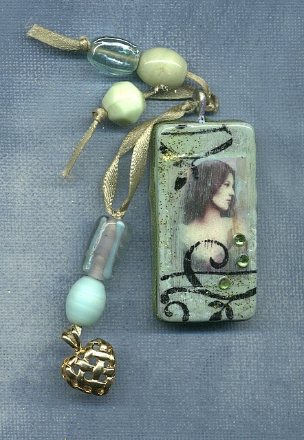 I love this combination - might do with journaling materials - - - Tranquil aqua altered domino.