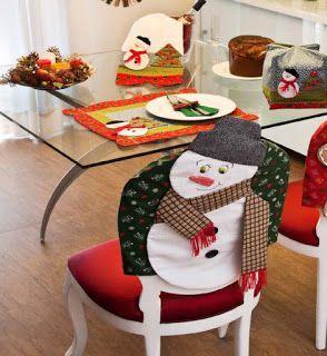 Moldes Para Artesanato em Tecido: Capa Para Cadeira de Natal com Molde