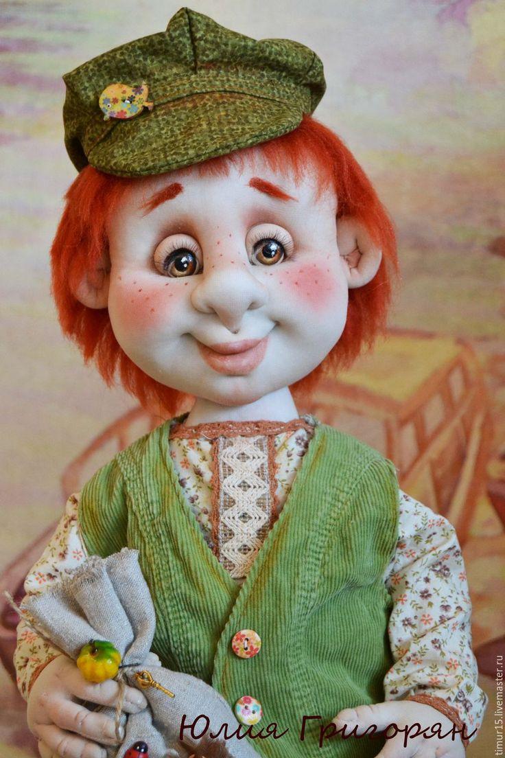 Купить Егорка - зеленый, домовенок, мальчик, скульптурный текстиль, капрон, капроновая кукла, ручная работа