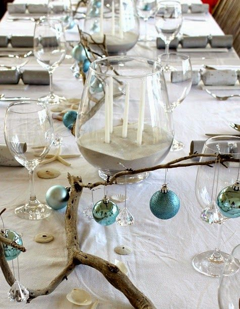 Candle centerpiece with beach sand http pletely