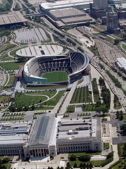 Chicago Field Museum (Below) and Soldier Field Stadium (Above) is Home of the Chicago Bears - CHICAGO, IL