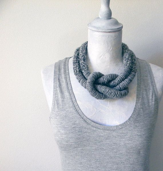 Wool necklace big knot  Statement necklace tweed light by ylleanna