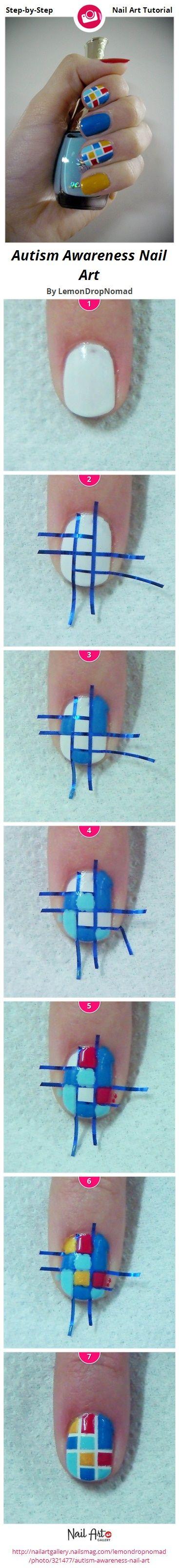 Autism Awareness Nail Art by LemonDropNomad - Nail Art Gallery Step-by-Step Tutorials nailartgallery.nailsmag.com by Nails Magazine www.nailsmag.com #nailart