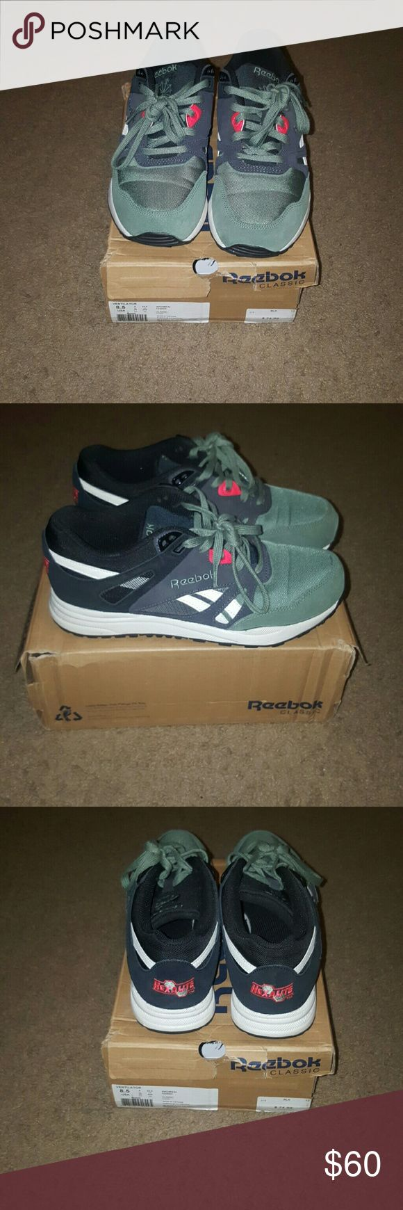 Womens Reebok Classic Reebok classic ventilator hexalite-  black gravel, silver green, cherry, comes with black laces and green Reebok Shoes Sneakers