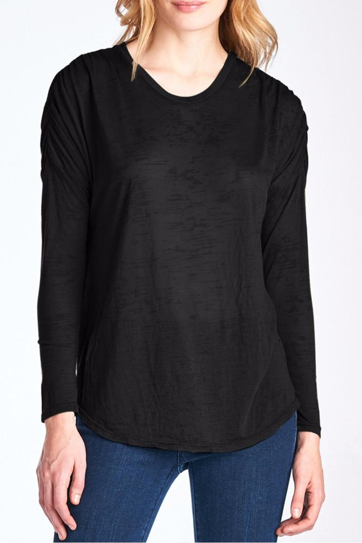 The Tricia Tee is a shirred shoulder, long sleeve dolman tee in the Nation signature Burnout Jersey. Amazing drape, super silky soft and perfect for a sharp day look or to dress up jeans for a night out. The sleeve is fitted, and the body is boxy and relaxed with a rounded hemline that dips slightly in the center front and back. Machine wash cold, lay flat to dry.   Tricia Burnout Tee by Nation LTD. Clothing - Tops - Long Sleeve Rhode Island