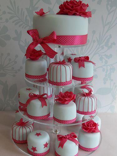 a cake made of mini cakes