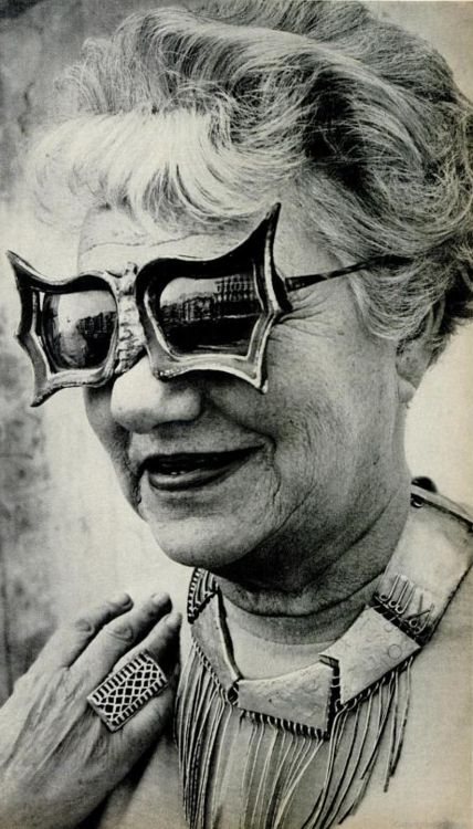 Peggy Guggenheim - An art addict - wearing Schiaparelli sunglasses