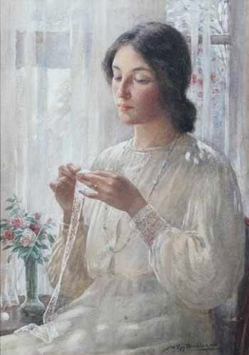 At the Window - A portrait of the artist's wife, Nellie, watercolor by William Kay Blacklock (1872-1922) British Painter ~ Blog of an Art Admirer