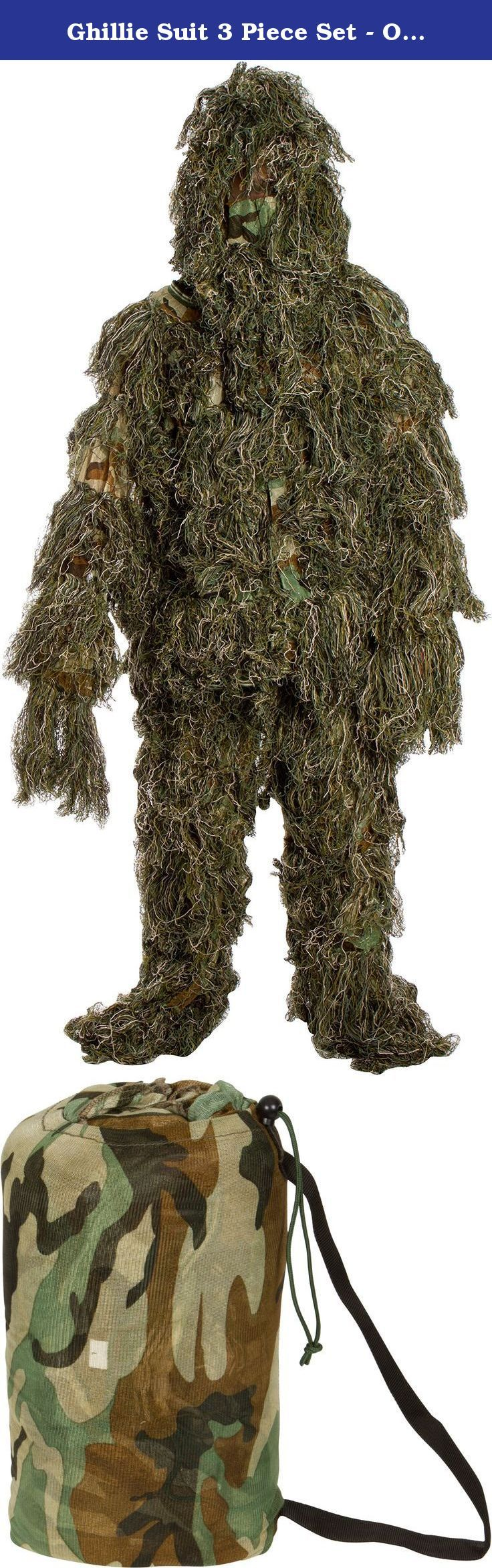 """Ghillie Suit 3 Piece Set - One Size Fits All Teens By Modern Warrior. Ghillie Suit Woodland and Forest Camouflage Tactical Gear. Our ghillie suits are top quality and will help you blend into any environment. Our 3 piece child suit fits teenagers 14 and up and is fairly adjustable. The suit pants are adjustable with draw strings. Buy our natural looking, top quality Ghillie Suit today. One size fits all teens. Chest- 16"""", Waist- Up to 30"""", Inseam- 24"""", Sleeve Length- 21"""". By Modern Warrior ."""