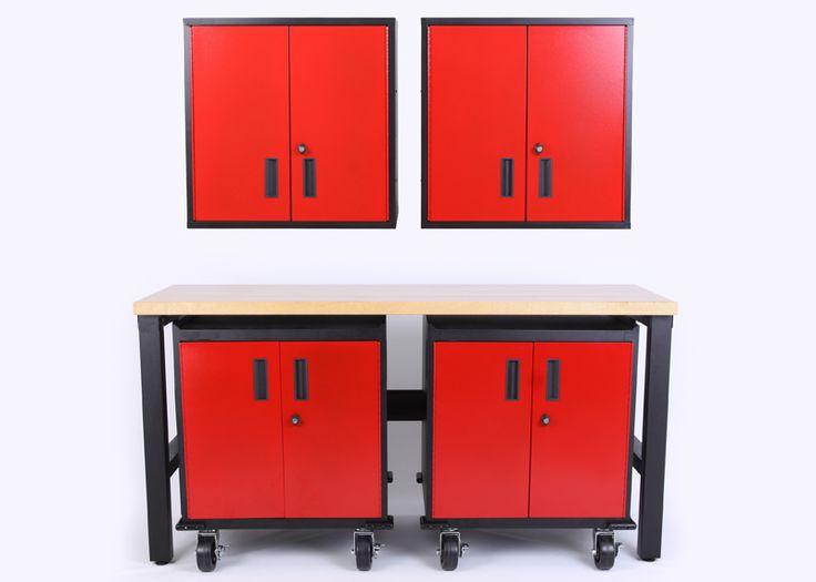 5 Piece Set of Metal Garage Cabinets - Car Guy Garage