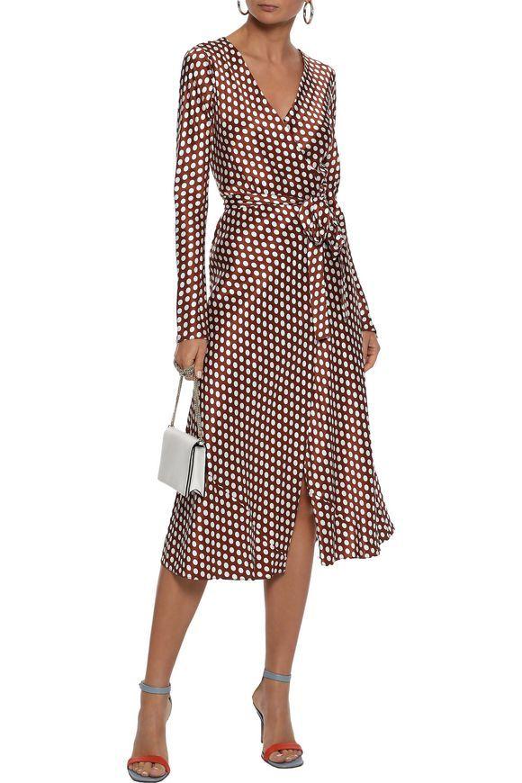 67fa34de46fe24 DIANE VON FURSTENBERG Tilly polka-dot satin midi wrap dress ...