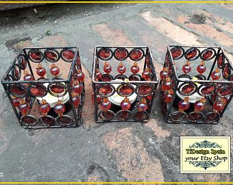 Votive de forja con abalorios, Portavelas étnicos,  Set de 3 portavelas, Portavelas originales, Candelabros pequeños, decoración con velas
