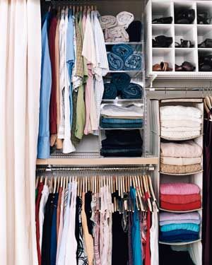 Even tight closets can be kept in check with helpers like bins and hanging shelves.