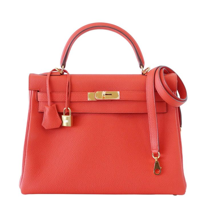 HERMES KELLY bag 32 Capucine supple togo gold hardware  | From a collection of rare vintage top handle bags at https://www.1stdibs.com/fashion/handbags-purses-bags/top-handle-bags/