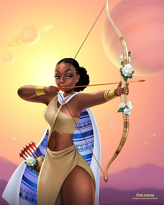 Black Women Art! — SAGITTARIUS by EL CARNA | Sagittarius art, Black women  art, Black girl magic art
