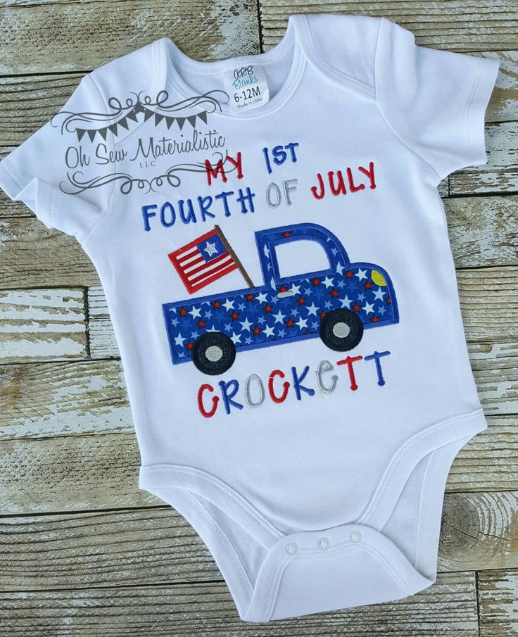 Personalized girl's or boy's patriotic forth of July vintage truck applique shirt or bodysuit. 1st fourth of July. by SewMaterialisticLLC on Etsy
