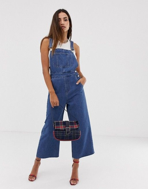 6e6b712b5bea7 Boohoo wide leg dungarees in denim blue in 2019 | closet moodboard ...