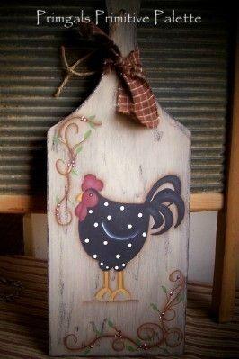 primitive+cutting+board | Primitive Chicken Cutting Board-Handpainted